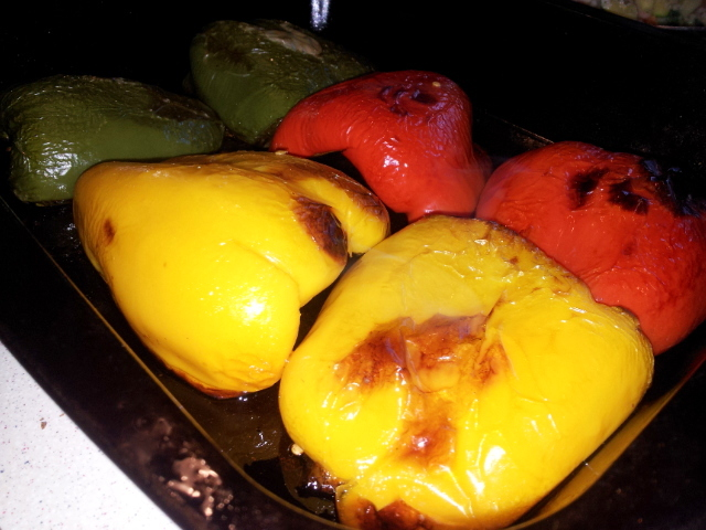 roasted peppers, sweet and soft and ready for stuffing!