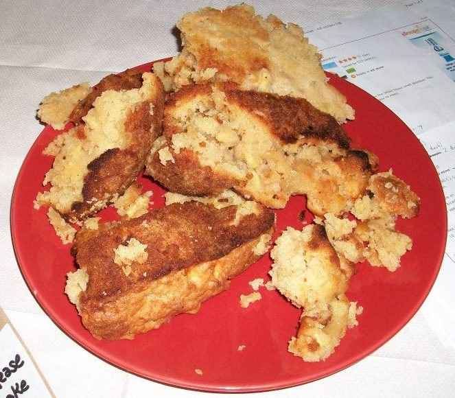 My second joint winner of the night from Tom, and not just because he had the confidence/balls to serve a cake that really did fall out of the tin in bits. I once made a cake that did this and was so mortified by the results that I gave the broken cake to my neighbour who I don't like and made another one. Well done Tom for being rather more sensible and less vain that I am. And double well done for putting together a really tasty, moist, golden apple cake which I really could have polished off without any help at all. Top notch.