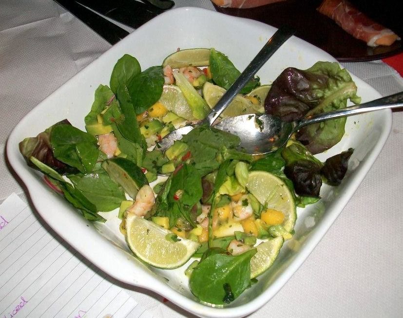 Prawn and mango salad from Amanda. Simple and scrummy, the meaty texture of prawns goes so well with soft mango and rounded of with a sharp dressing and a nice crunch of green leaves. Very good.