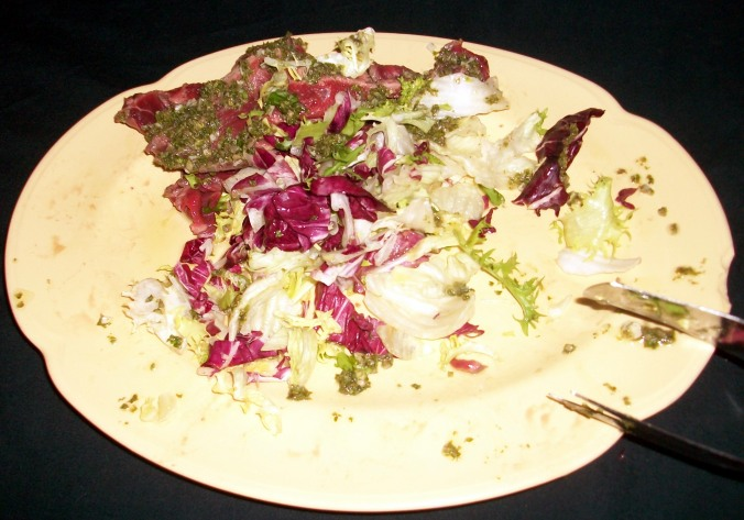 Beef carpaccio with a zesty salad. Fantastic offering from Sheena thanks to a great seasoning mix and some highly delicious beef. Tender and tasty and a joint winner for my favourite of the night.