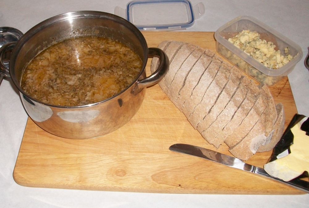 'Easy Onion Soup' which I made. It certainly was easy, basically onions, butter, stock, beer and stilton. You should find it easily with Google, well worth a go for tasty lunch or first course.