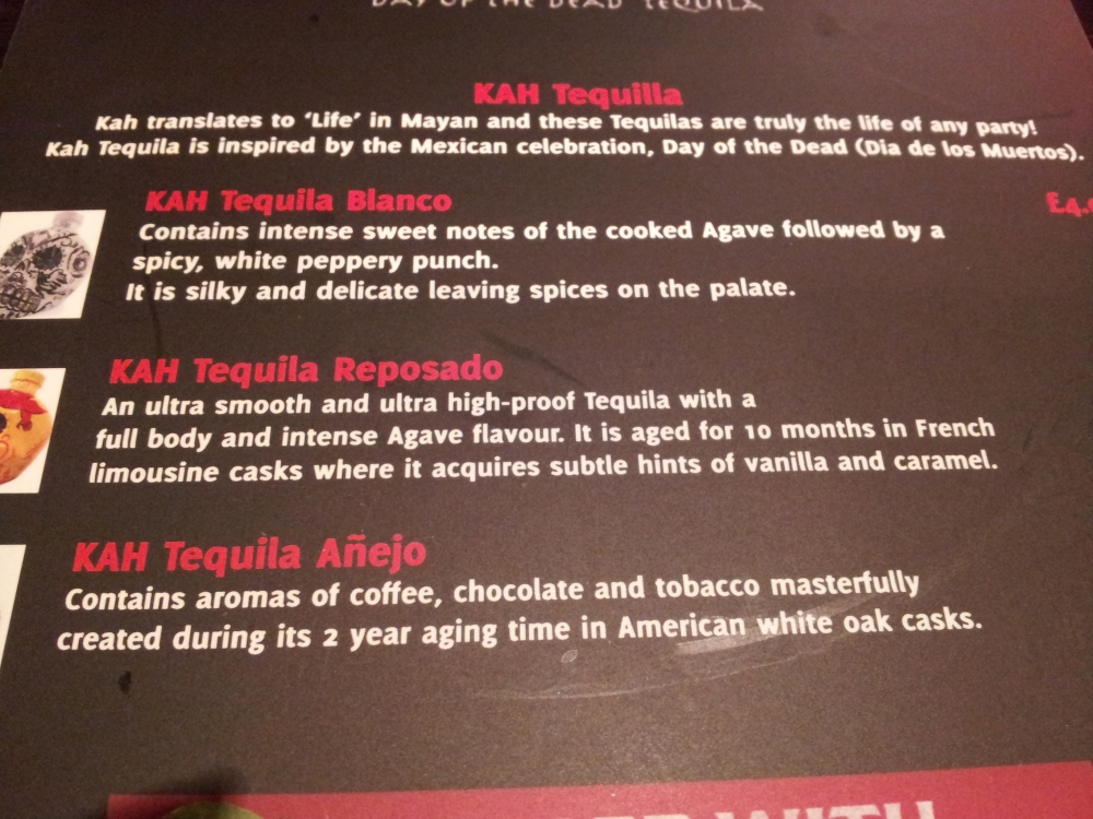 if the banana chimichangas aren't enough to knock you out for the night, check out some specialist tequila.