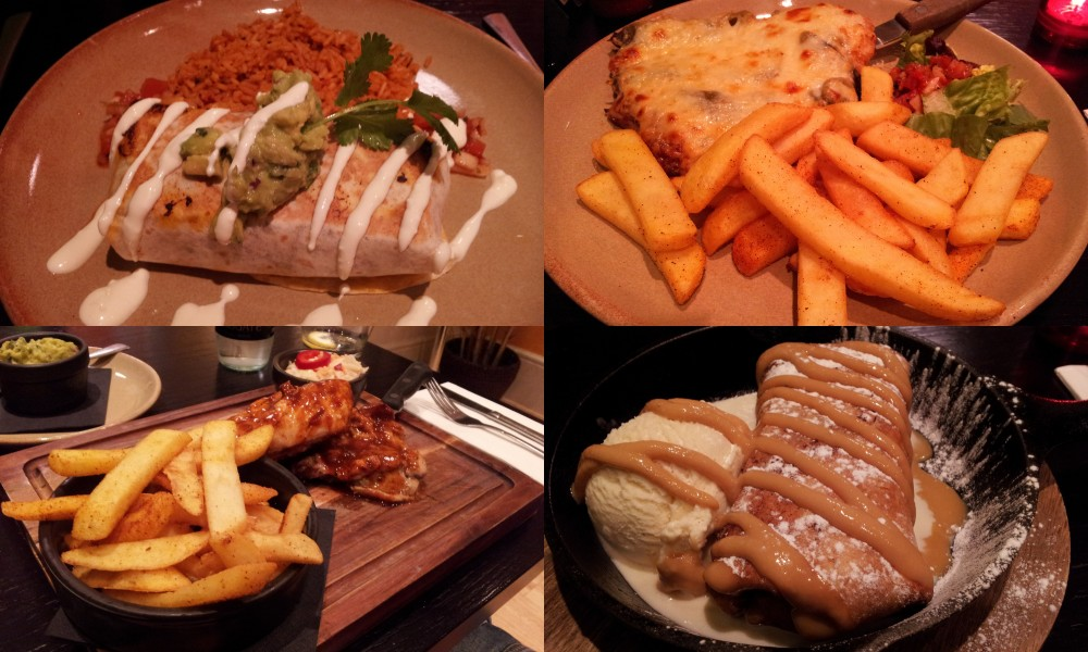 Clockwise from top left: Pork burrito with mexican rice; poblano chicken; santa fe chicken; banana chimichanga with ice cream and dulce de leche. Ooof.