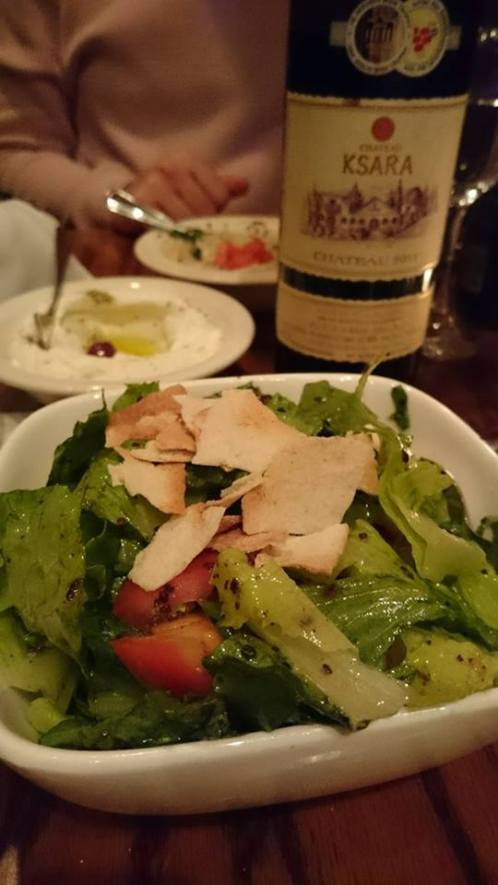 Fattoush- a simple salad perfectly executed- lettuce, tomatoes, cucumber, sumac, fried pitta. Superb. Regionally correct wine in the background.